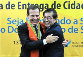"""圣保罗市长多利亚成为""""首尔荣誉市民"""""""