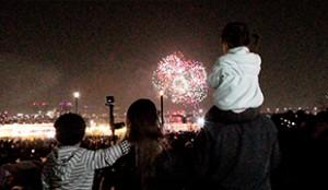 去观看世界最大烟花庆典的孩子们