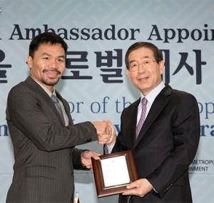 """亚洲拳击传奇曼尼‧帕奎奥成为""""首尔国际大使"""""""