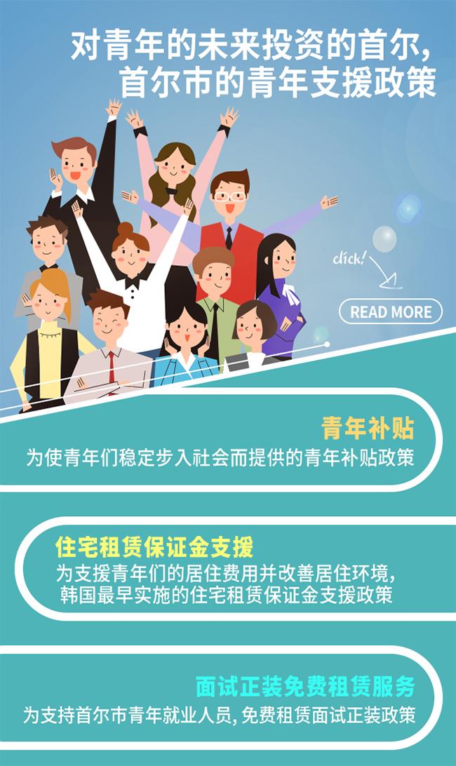为使青年们稳定步入社会而提供的首尔市青年补贴为支援青年们的居住费用并改善居住环境,韩国最早实施的住宅租赁保证金支援政策为支持首尔市青年就业人员的面试正装免费租赁政策