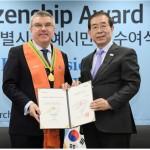 """国际奥委会主席托马斯‧巴赫成为""""首尔市荣誉市民"""""""