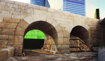 DDP施工现场挖掘及部分复原的二间水门全景