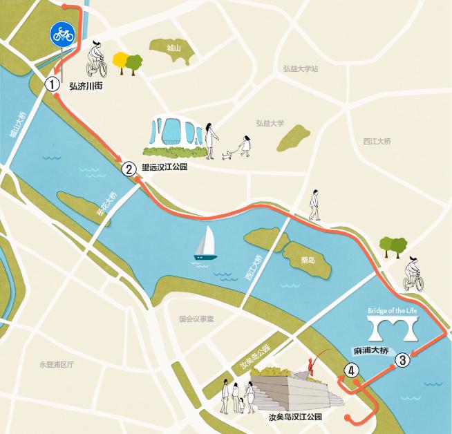 上岩 汝矣岛汉江公园路线
