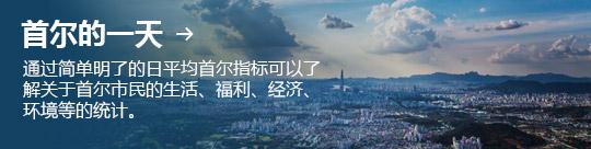 首尔的一天 → 通过简单明了的日平均首尔指标可以了解关于首尔市民的生活、福利、经济、环境等的统计。