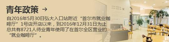 """青年政策 → 自2016年5月30日弘大入口站附近""""首尔市就业咖啡厅""""1号店开店以来,到2016年12月31日为止总共有8721人待业青年使用了在首尔全区营业的""""就业咖啡厅""""。"""