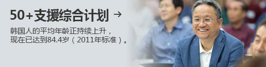 50+支援综合计划 → 韩国人的平均年龄正持续上升, 现在已达到84.4岁(2011年标准)。