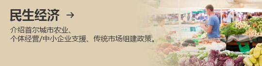 民生经济 → 介绍首尔城市农业、 个体经营/中小企业支援、传统市场组建政策。