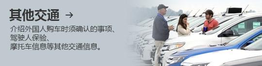 其他交通 → 介绍外国人购车时须确认的事项、 驾驶人保验、 摩托车信息等其他交通信息。