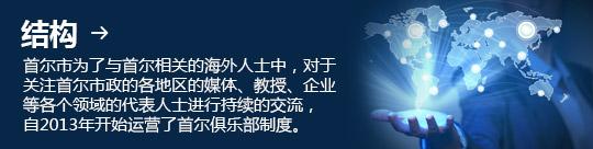 结构 → 首尔市为了与首尔相关的海外人士中,对于关注首尔市政的各地区的媒体、教授、企业等各个领域的代表人士进行持续的交流, 自2013年开始运营了首尔俱乐部制度。