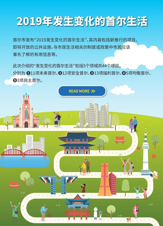 """2019年发生变化的首尔生活此次介绍的包括5个领域共44个项目, 分别为 ❶未来首尔、❷安全首尔、❸福利首尔、❹均衡首尔、❺民主首尔。首尔市发布""""2019发生变化的首尔生活"""",其内容包括新推行的项目、 即将开放的公共设施、与市民生活相关的制度或政策中市民应该 事先了解的有用信息等。"""
