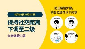保持社交距离下调至二级(9月14日-9月27日) newsletter