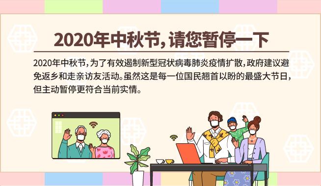 2020年中秋节,请您暂停一下中秋节是韩国最盛大的节日。每年中秋节,人们都会利用长假返乡,与家人度过愉快的团圆时光。但是,2020年中秋节,为了有效遏制新型冠状病毒肺炎疫情扩散,政府建议避免返乡和走亲访友活动。虽然这是每一位国民翘首以盼的最盛大节日,但主动暂停更符合当前实情。因为在远距离移动过程中会接触很多人,返乡后参加亲朋好友聚会存在极高的传播感染风险。