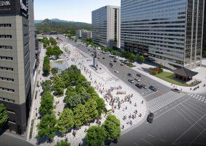 扩建后的光化门广场东侧道路自3月6日(周六)0时起双向通车