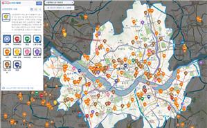 """""""智能首尔地图""""推出促进良性消费地图、步行弱势群体散步路地图、新型冠状病毒肺炎筛查诊疗所外语地图"""