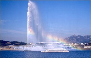 World Cup Water Fountain from Southern Hangang Riverside (Daytime)